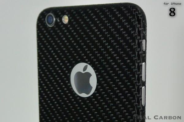 Carbon Cover iPhone 8 con Logo Window